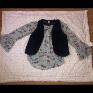 Kids blouse with fluffy vest